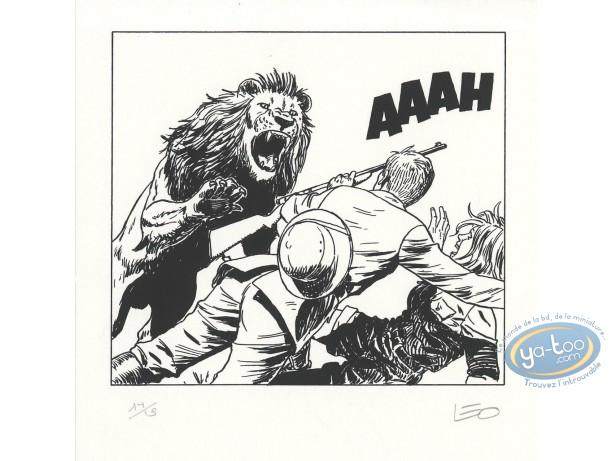 Ex-libris Sérigraphie, Kenya : Attaque du lion (n&b)