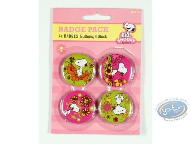 Pin's, Snoopy : 4 badges Snoopy dans la nature -fleurs