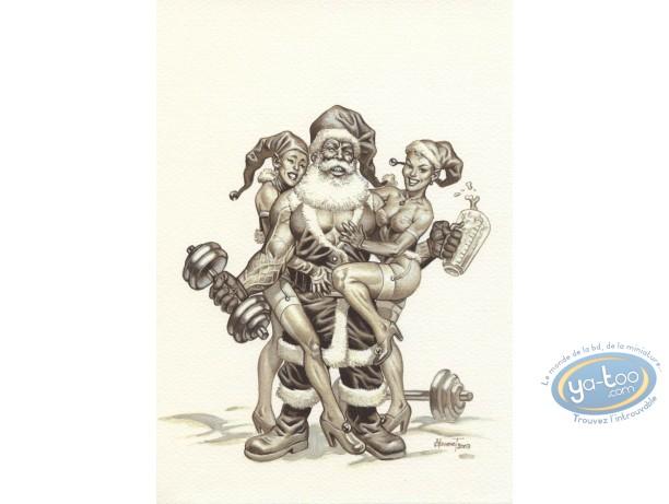 Ex-libris Offset, Noël : Père Noël culturiste n&b