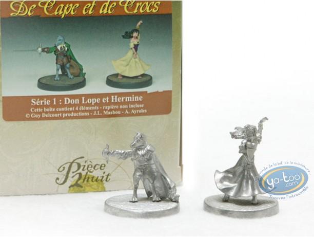 Figurine métal, Cape et de Crocs (De) : Don Lope & Hermine (non peinte)