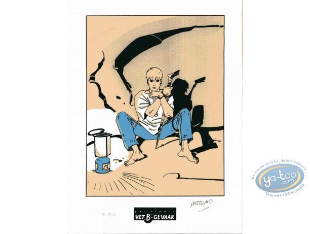 Ex-libris Sérigraphie, Luka : Assis dans une grotte