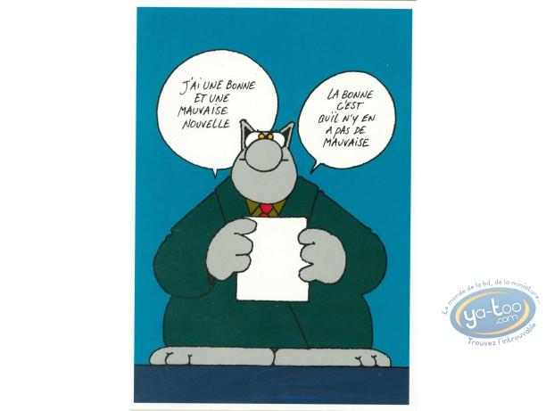 Carte postale, Chat (Le) : 'J'ai une bonne et une mauvaise nouvelle. La bonne c'est qu'il n'y a pas de mauvaise'