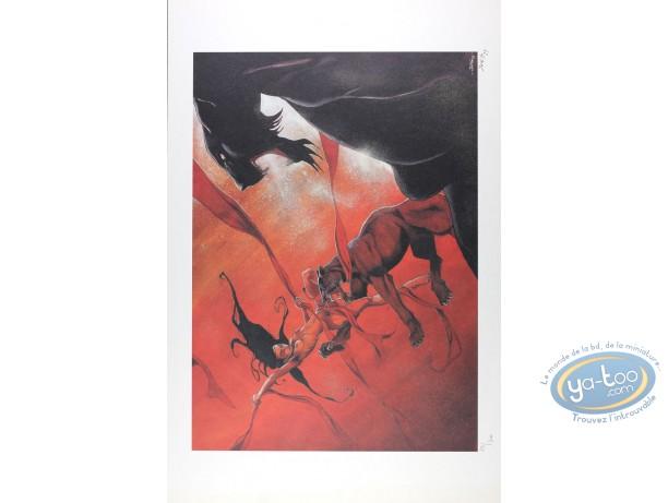 Affiche Offset, Jeune Fille et le Vent (La) : Femme et Léopards