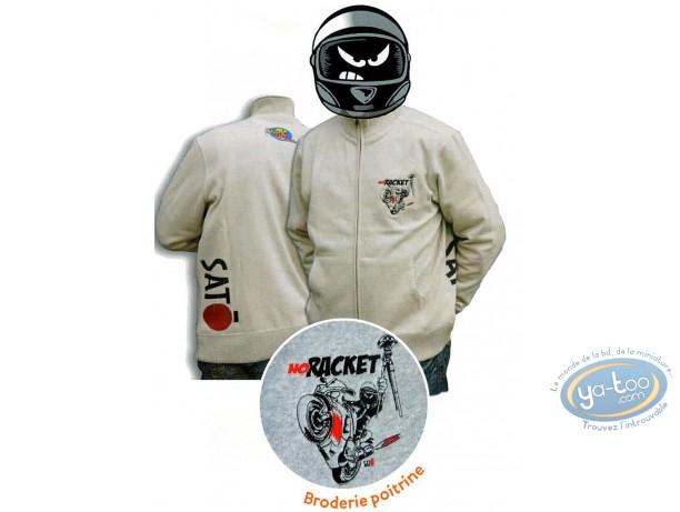 Vêtement, Même pas Peeur : Sweat zippé,  NO RACKET - Sable - XL