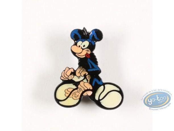 Pin's, Marsupilami (Le) : Bébé Marsupilami noir fait du vélo avec sa queue