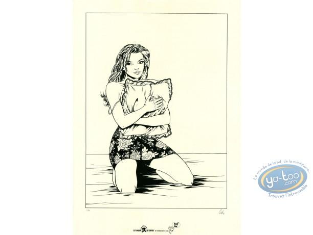 Affiche Sérigraphie, Horizon Blanc : Femme agenouillée