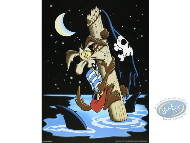 Affiche Offset, Vil Coyote : Coyote naufragé 30X40 cm