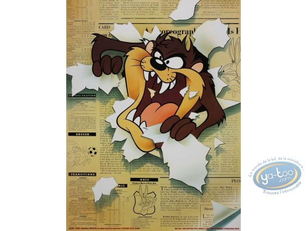 Affiche Offset, Taz : Taz et le journal 30X40 cm