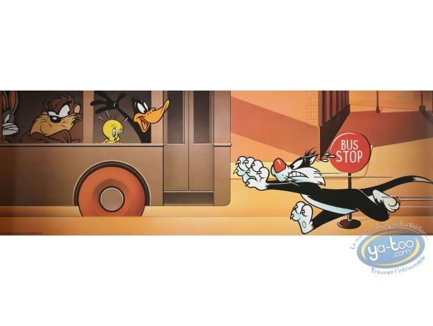 Affiche Offset, Looney Tunes (Les) : Le bus Looney 90X30 cm