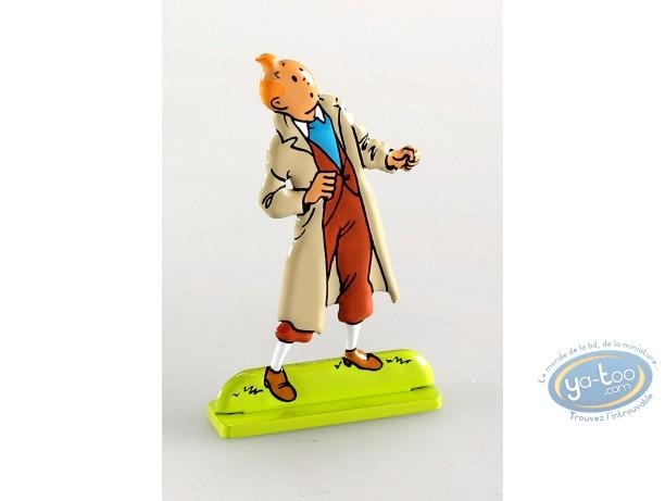 Figurine métal, Tintin : Tintin dans Les sept boules de ctristal (bas relief)