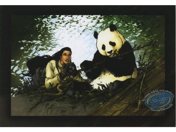 Ex-libris Offset, Golden City : Femme & panda
