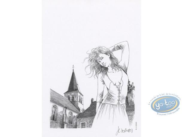 Ex-libris Offset, Seins de Café (Les) : Femme et clocher n&b