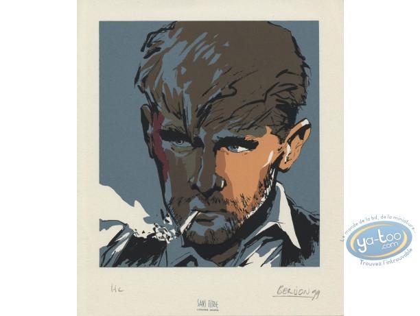 Ex-libris Sérigraphie, Lie de Vin : Portrait