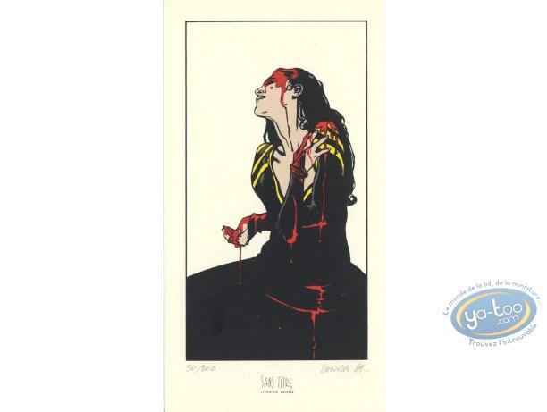 Ex-libris Sérigraphie, Terres d'Ombre : Femme ensanglantée