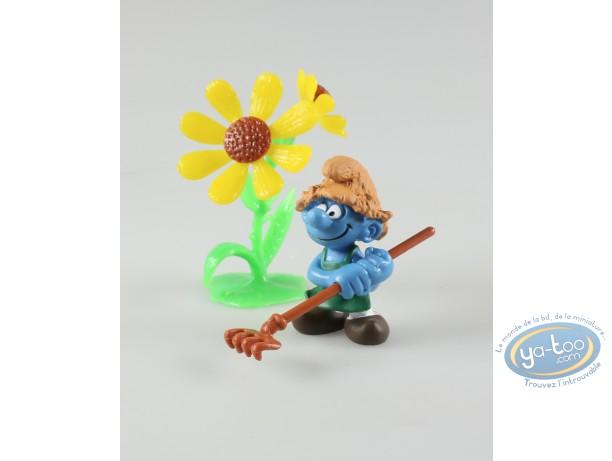 Figurine plastique, Schtroumpfs (Les) : Jardinier avec rateau + fleur, Germany made in China.