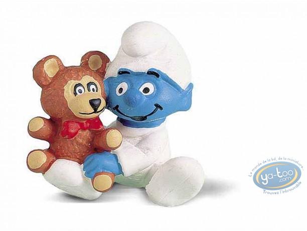 Figurine plastique, Schtroumpfs (Les) : Bébé schtroumpf avec son nounours