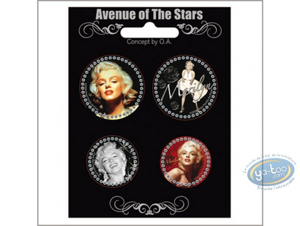 Mode et beauté, Marilyn Monroe : Set de 4 badges Marilyn Monroe