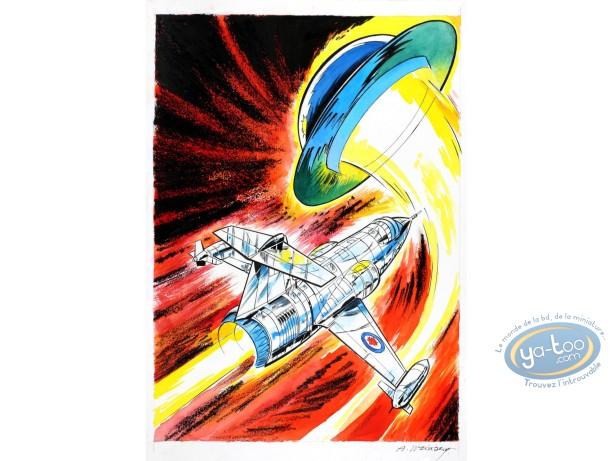 Aquarelle, Dan Cooper : Le Mystère des Soucoupes Volantes