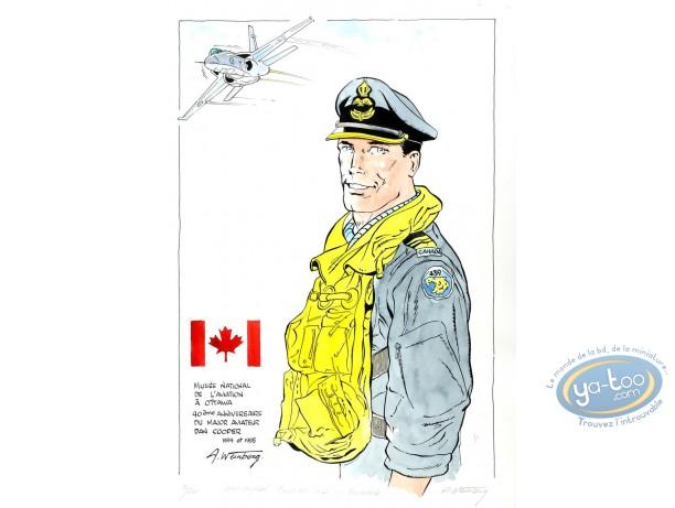 Aquarelle, Dan Cooper : Portrait Aviateur