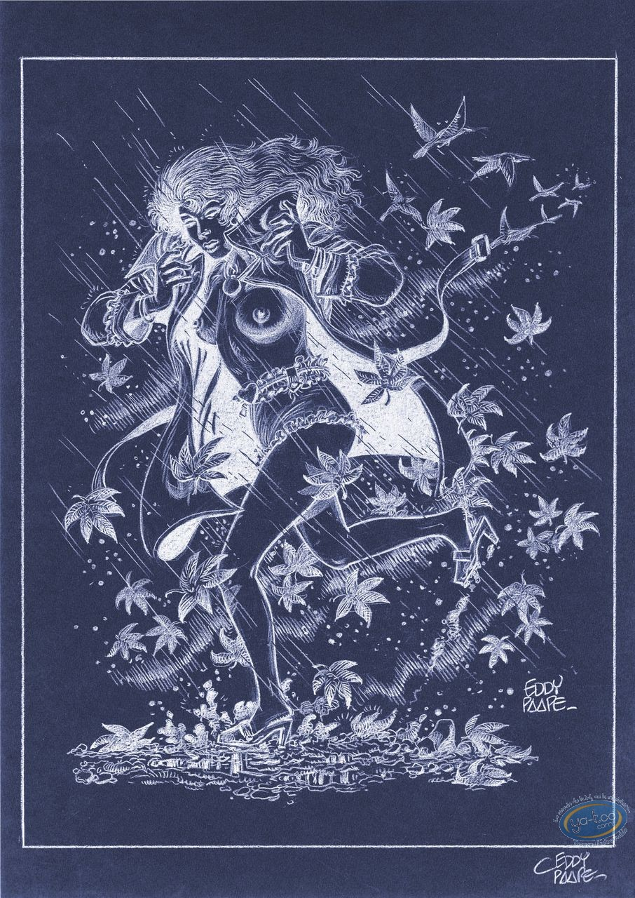 Affiche Offset, Luc Orient : Laura pluie (négatif)