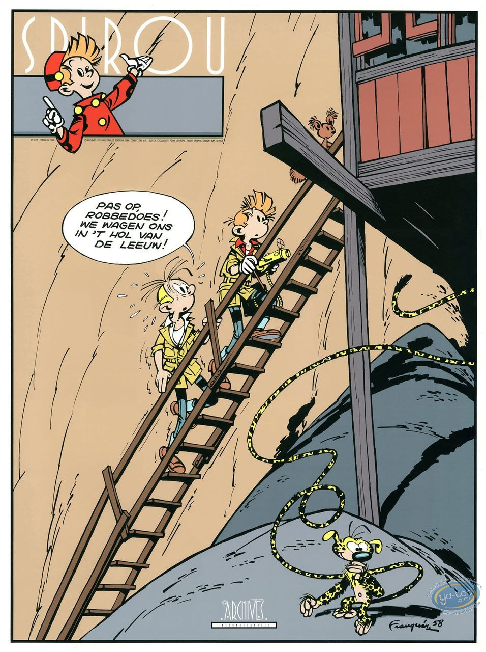 Affiche Sérigraphie, Spirou et Fantasio : Prisonnier du Boudha (nl)