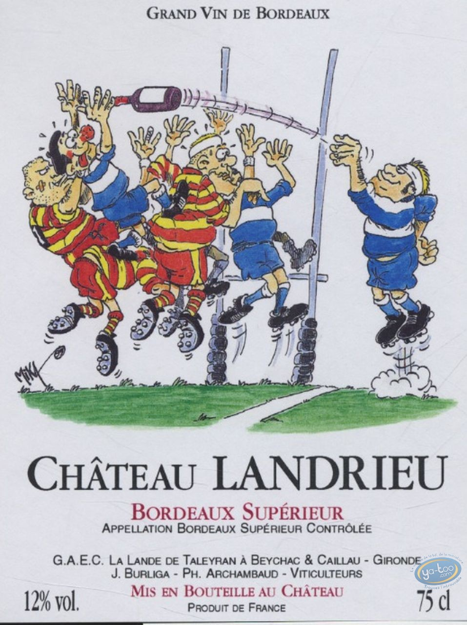 Etiquette de Vin, Rugby - Chateau Landrieu
