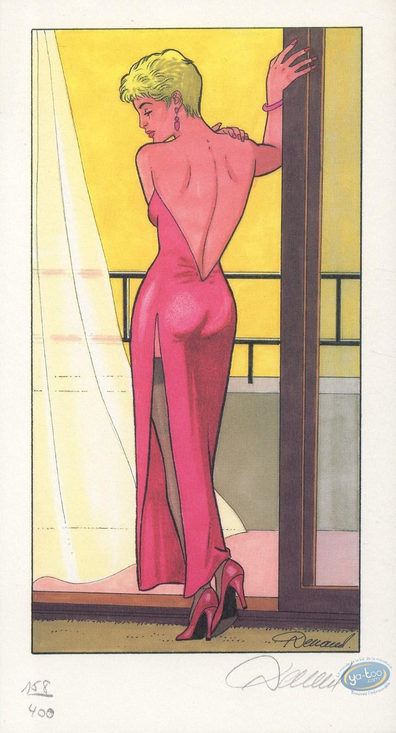 Ex-libris Offset, Jessica Blandy : Robe rose de dos à la fenêtre