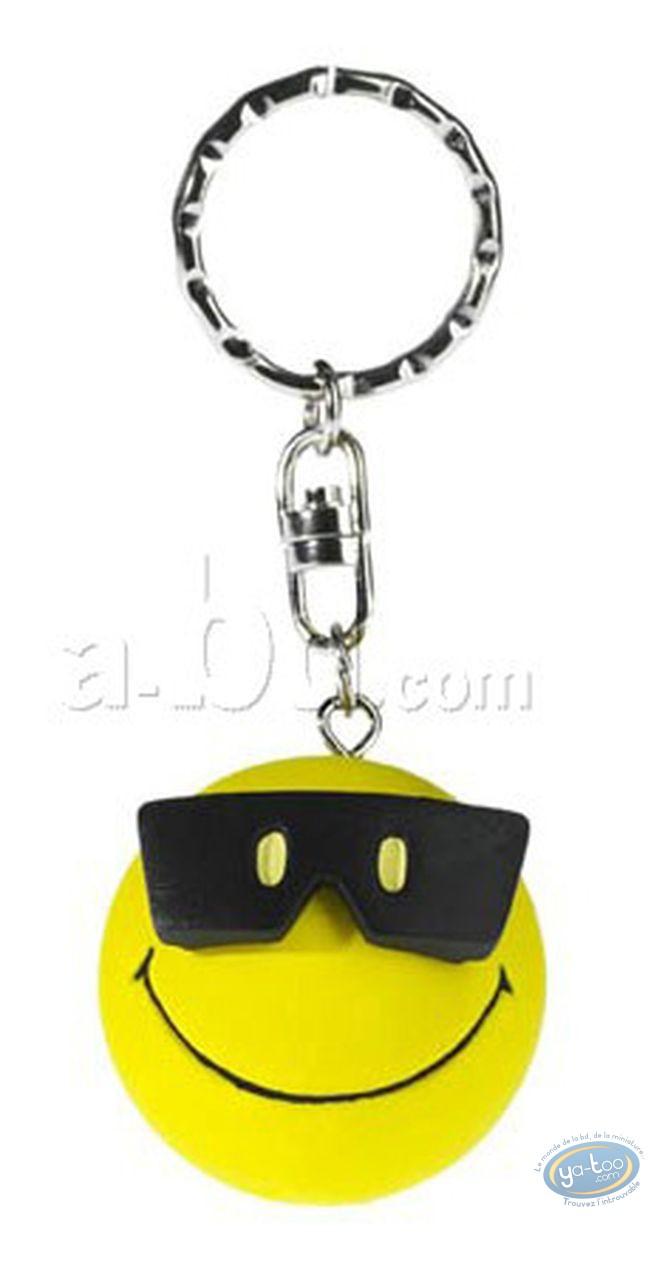 Figurine plastique, Smiley : Porte-clef Smiley lunettes