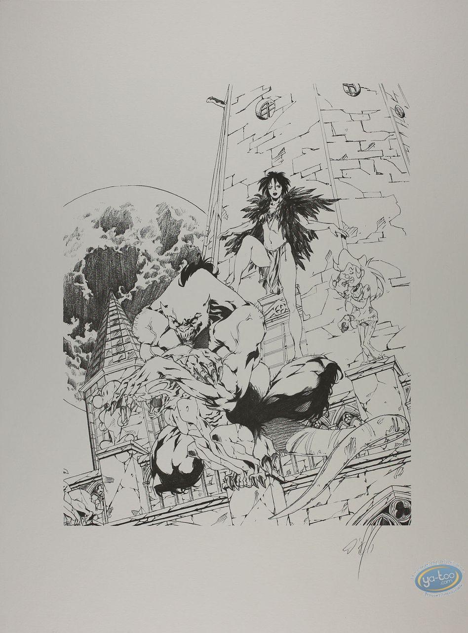 Affiche Offset, Garous : Civiello-Defali, Loup garou et prêtresse (n&b)