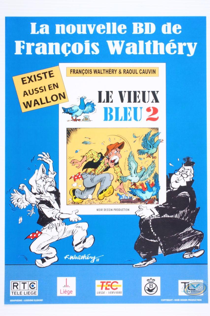 Affiche Offset, Vieux Bleu (Le) : Affiche publicitaire 'Le vieux bleu 2, La Nouvelle BD de Walthéry et Cauvin' (Petit format)