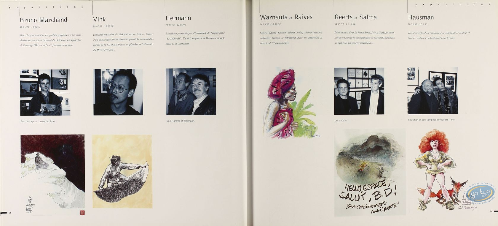 Carnet de croquis, Espace BD, catalogue expo 1986-1996