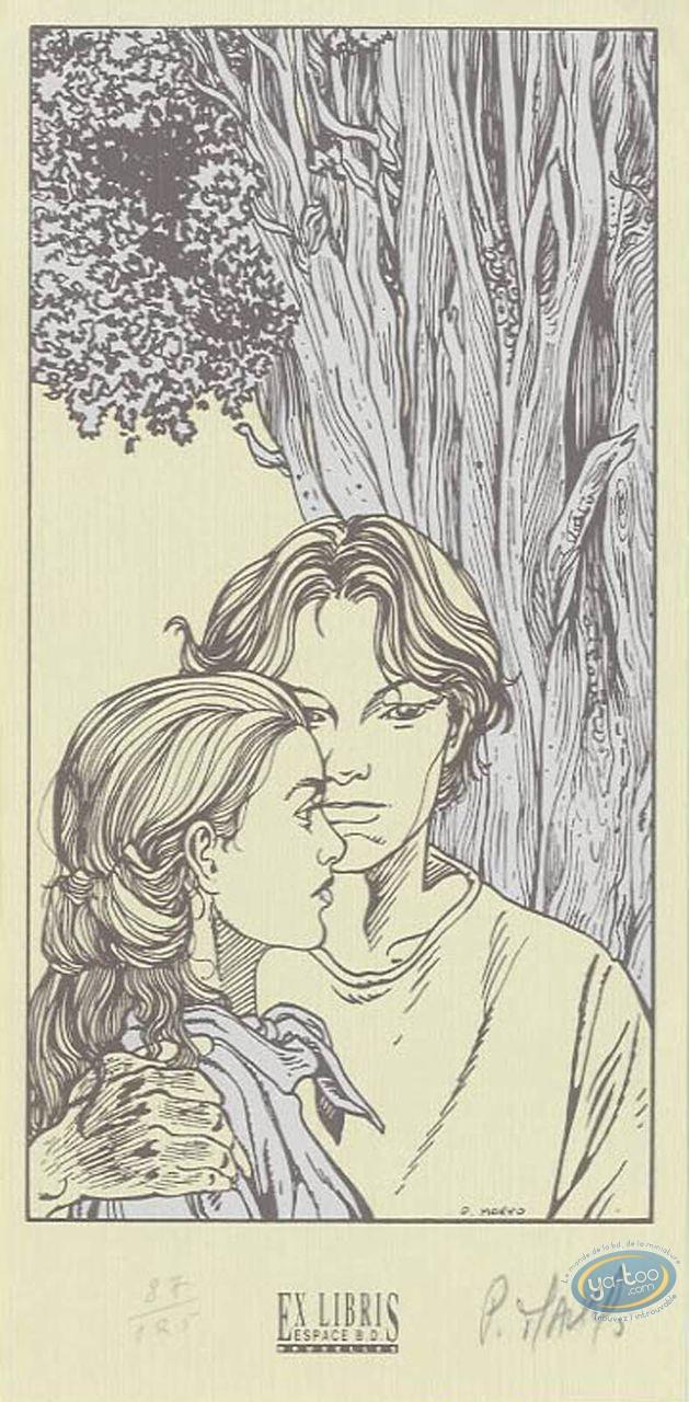 Ex-libris Sérigraphie, Grimion Gant de Cuir : Devant l'arbre