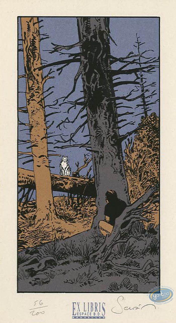 Ex-libris Sérigraphie, Esprit de Warren (L') : Homme et chat blanc