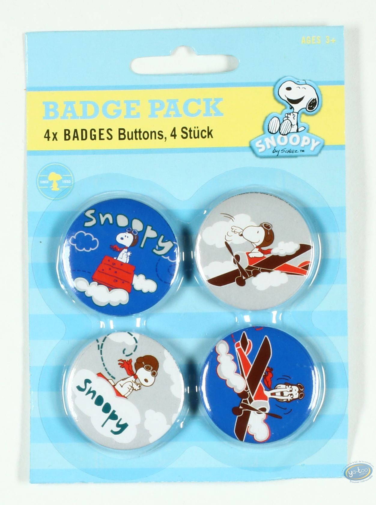 Pin's, Snoopy : 4 badges Snoopy dans les airs