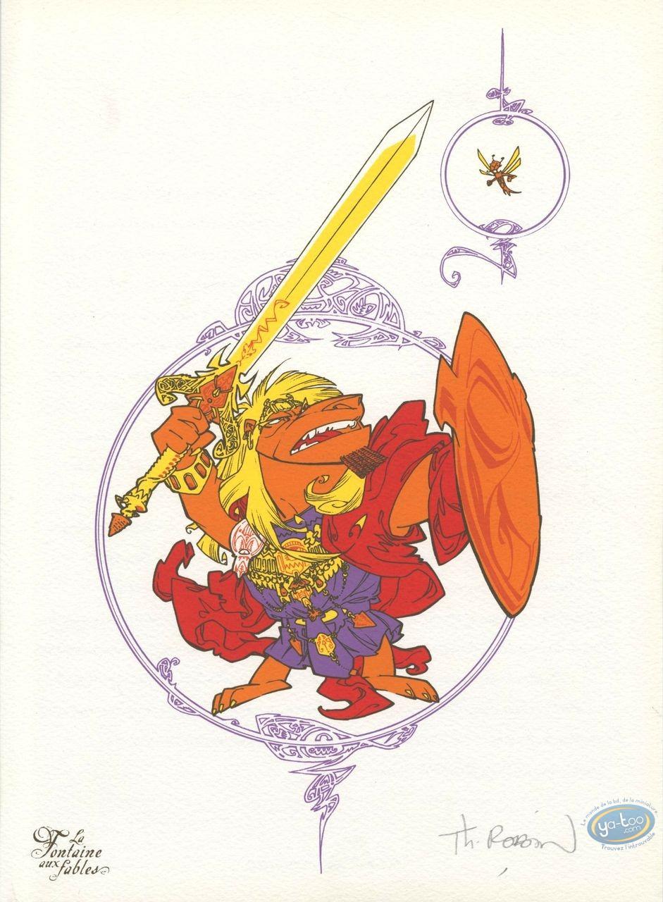 Ex-libris Offset, Fontaine aux Fables (La) : le Lion & le Moucheron