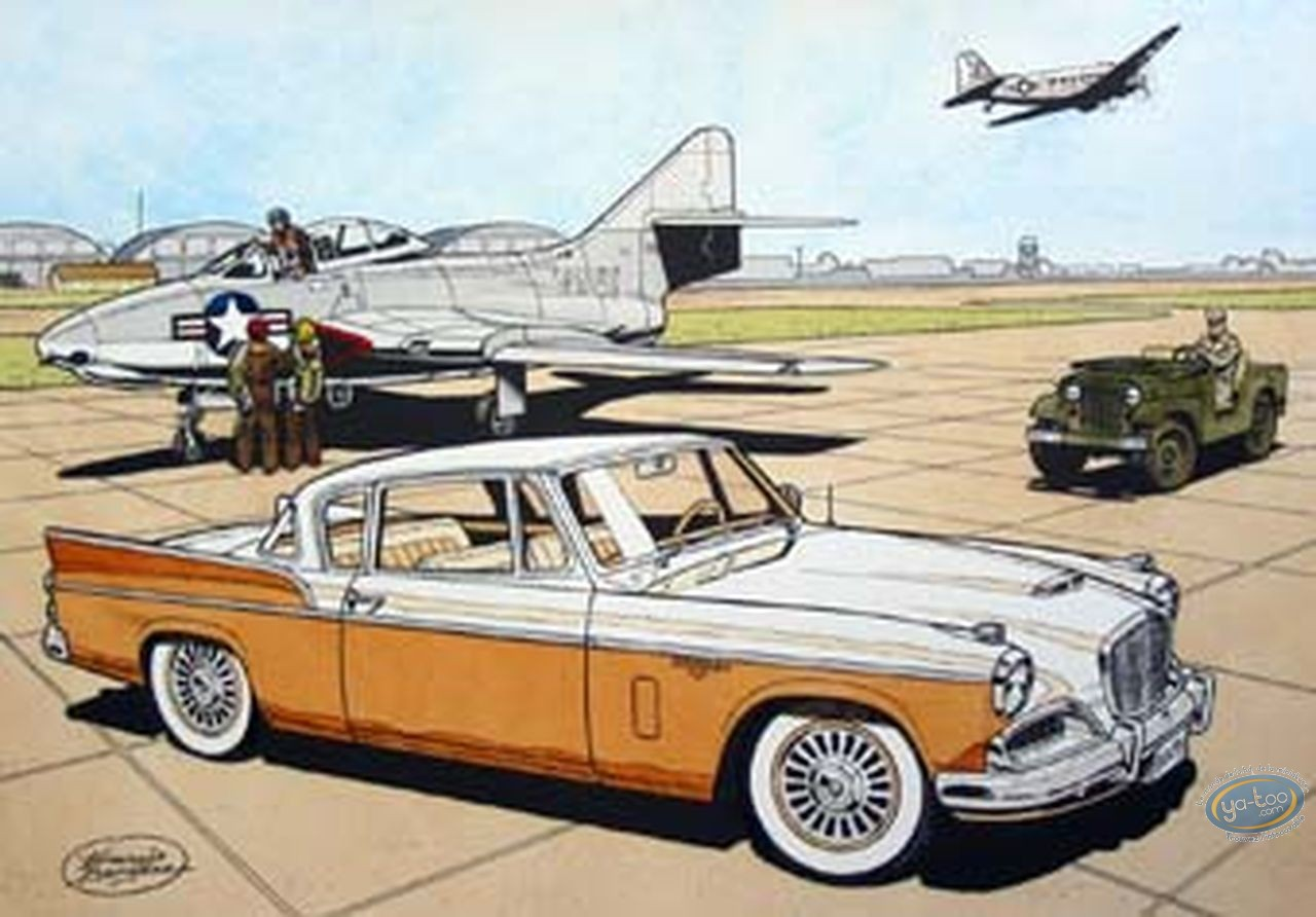 Aquarelle, Buck Danny : Studebaker 57 orange