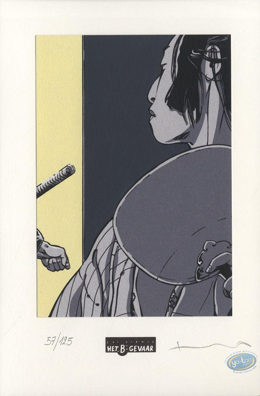 Ex-libris Sérigraphie, Kogaratsu : Geisha de profil