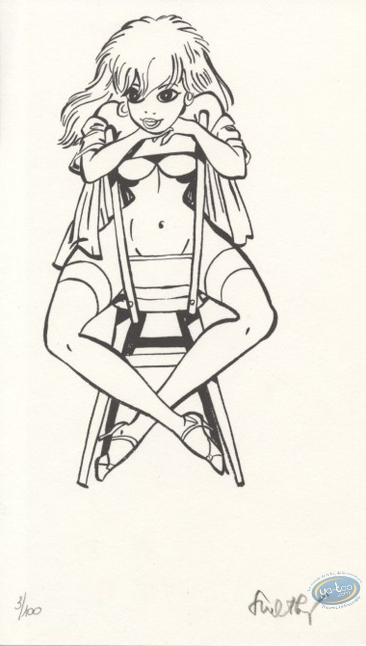 Ex-libris Offset, Pin-Up et Voitures : Pin-up assise