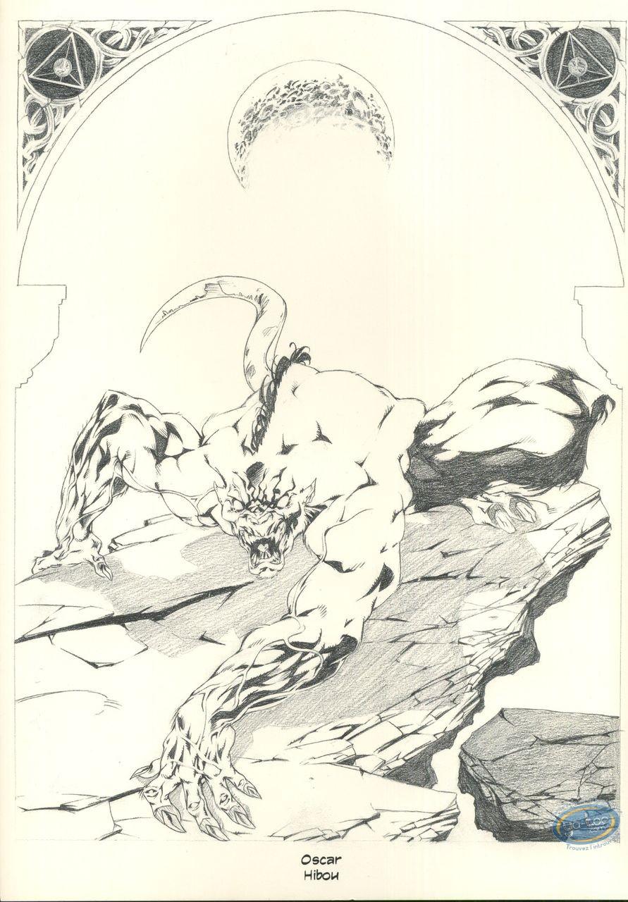Ex-libris Offset, Garous : Loup-Garou (crayonné)