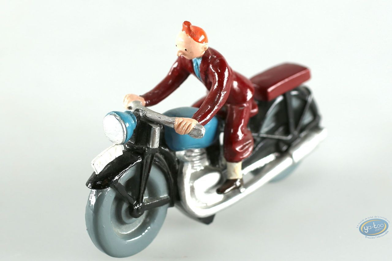 Figurine métal, Tintin : Tintin à moto, Pixi