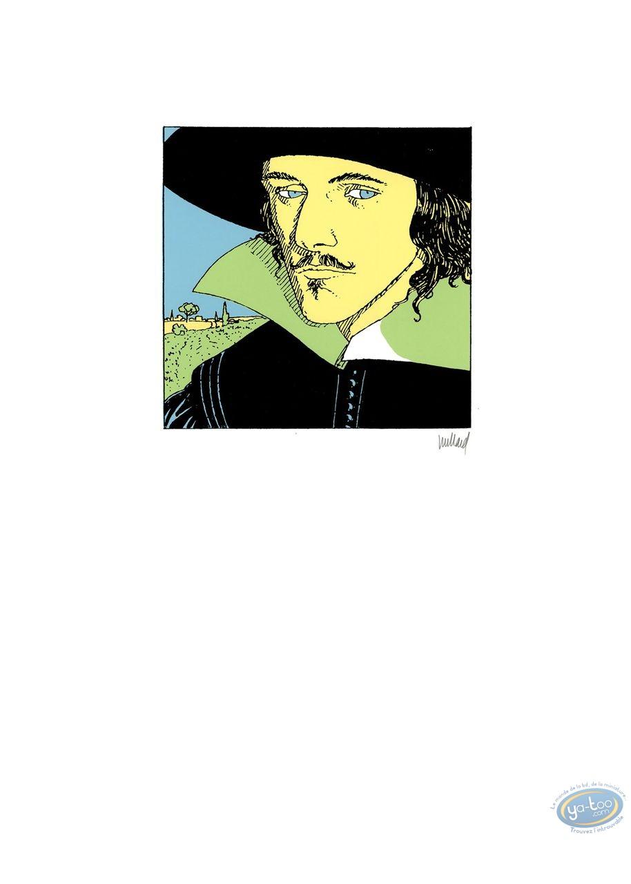 Affiche Sérigraphie, Quelque Chose de Bleu : Homme au chapeau noir