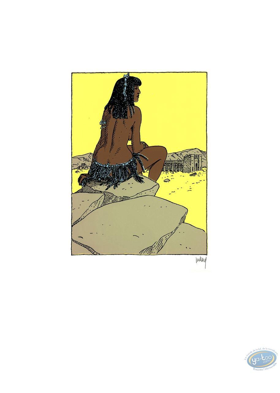 Affiche Sérigraphie, Quelque Chose de Bleu : Femme sur le rocher