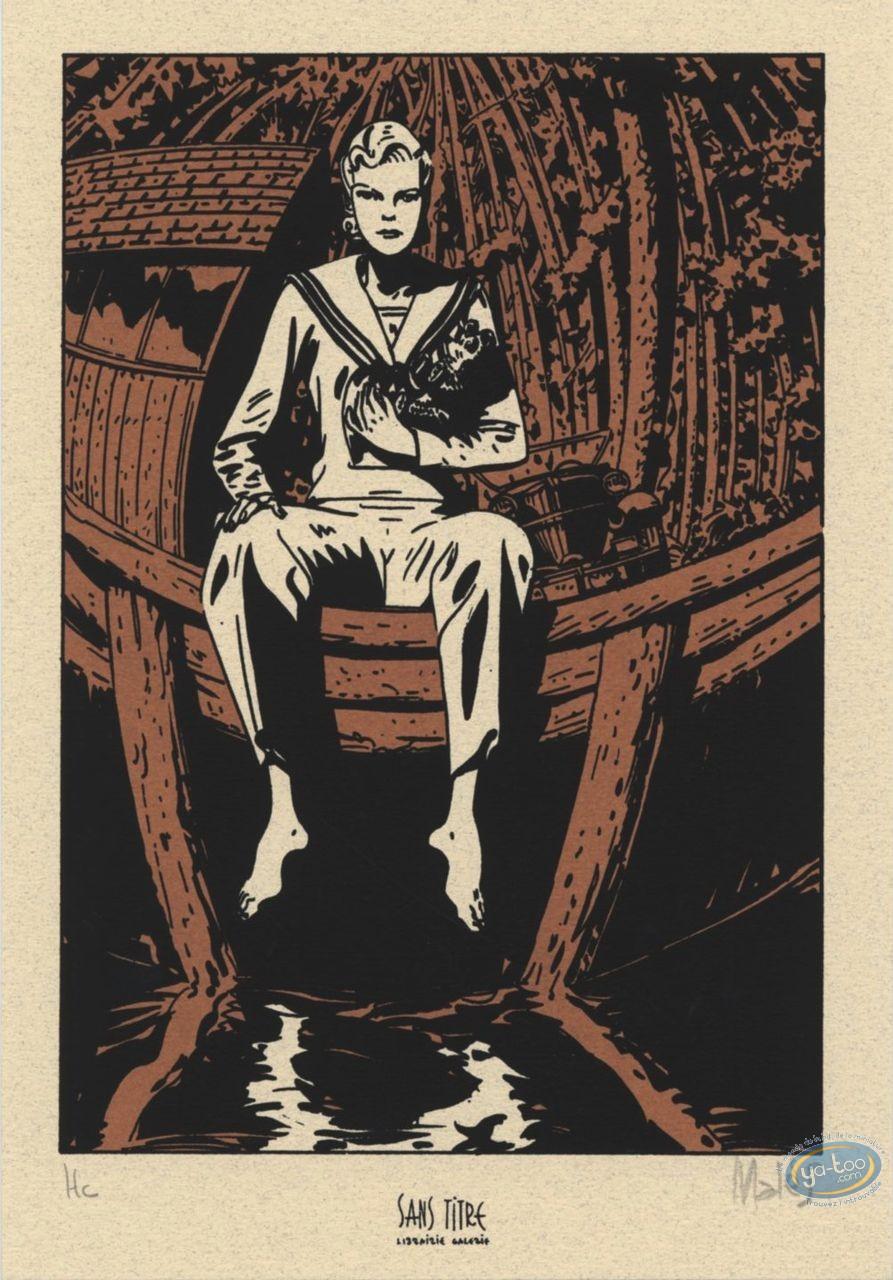 Ex-libris Sérigraphie, Révoltés (Les) : Femme sur bateau