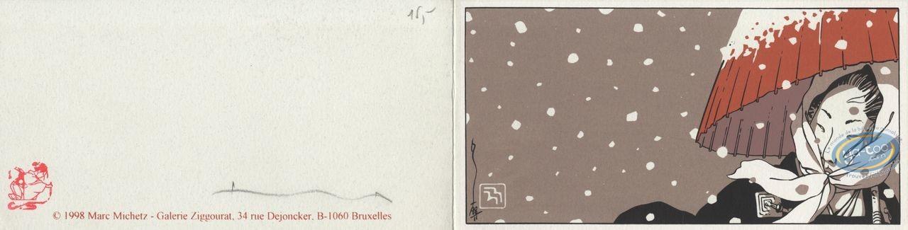 Ex-libris Sérigraphie, Kogaratsu : Femme sous la neige