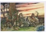 Carte postale, Rencontres : Cavalière suivie par des gnomes en forêt