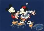 Affiche Sérigraphie, Mickey Mouse : Mickey et Minnie patinent, Disney