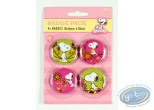 Pin's, Snoopy : 4 badges Snoopy dans la nature -fleurs (2ème version)