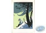 Ex-libris Sérigraphie, Fond du Monde (Le) : Assise dans la neige