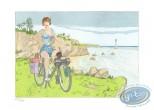 Aquarelle, Gibrat : Martine et son solex
