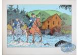 Affiche Sérigraphie, Tuniques Bleues (Les) : Départ en mission (jaunie)